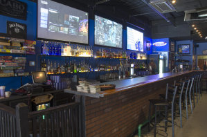 Projector Screens Above Bar