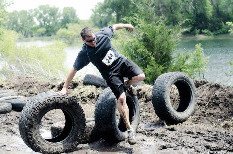 Running through tires