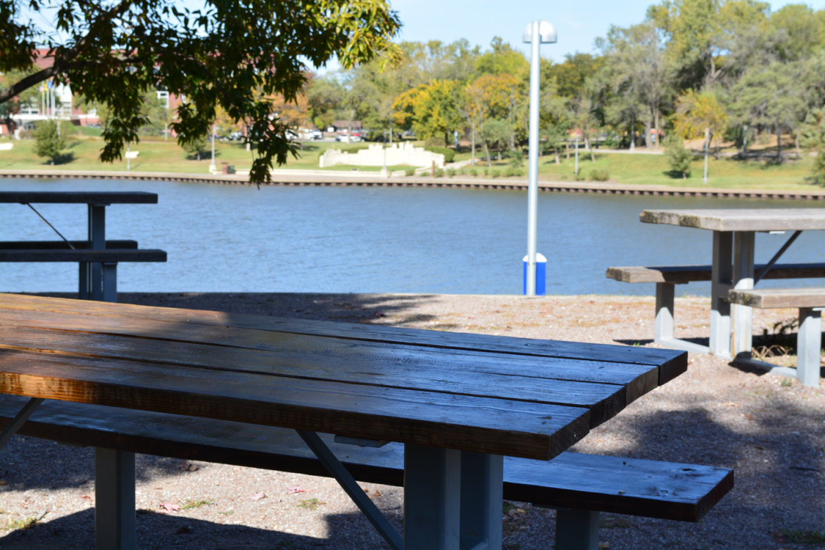 Picnic tables by the river.