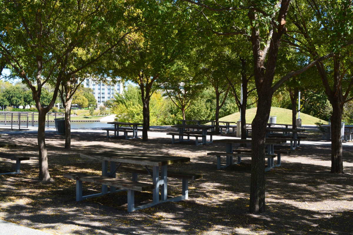 Shaded picnic tables