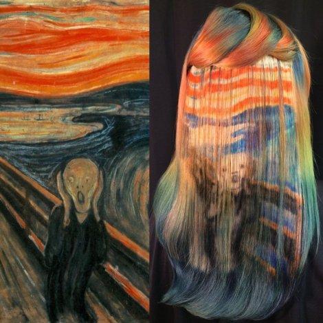 The Scream Hair Painting