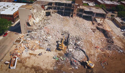 Aerial View of Wichita Eagle Building Demolition
