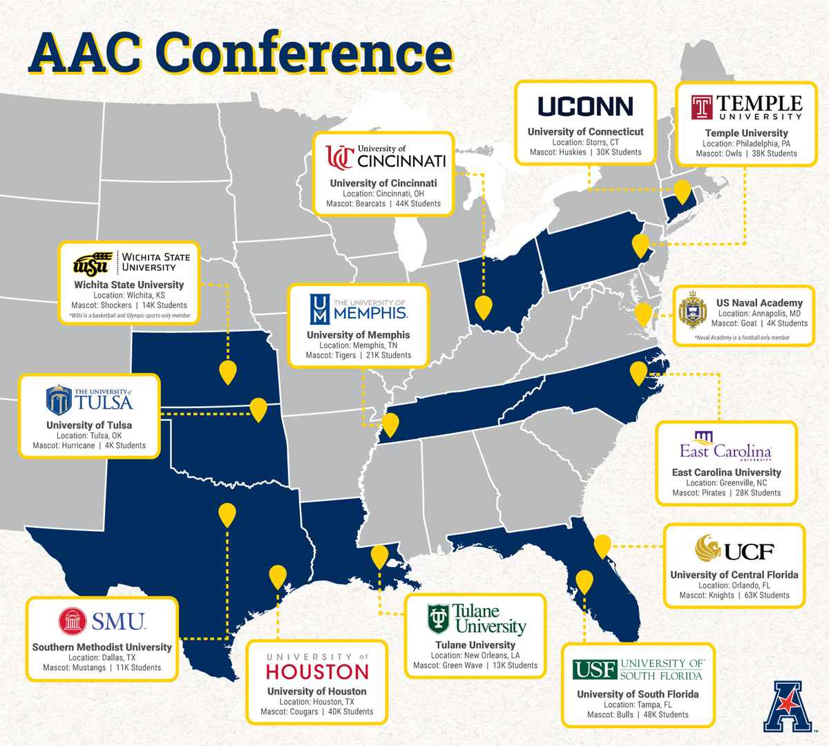 AAC Conference Map By School