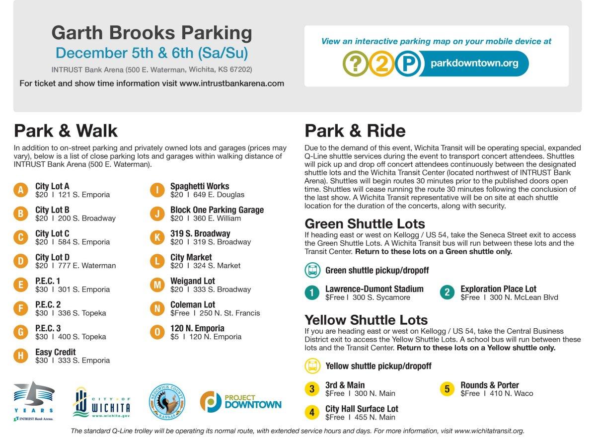 Garth Brooks Saturday/Sunday Parking Legend