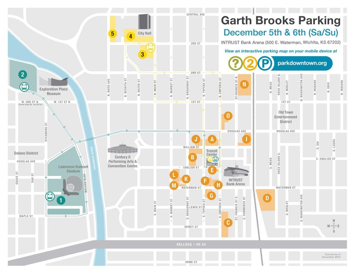 Garth Brooks Saturday/Sunday Parking Map